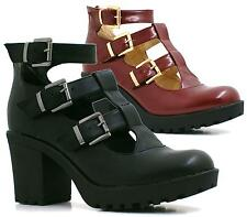 Ladies Buckle Strap Womens Cut Out Platform Mid Block Heel Boots Shoes Size 3-8