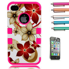 Hybrid Hawaii Flower Rugged Rubber Matte Hard Case Cover For iPhone 4G 4S+Stylus