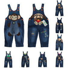 Cute Animal Kids Unisex Jeans Dungarees Denim Overalls Jumpsuits Toddler Pants