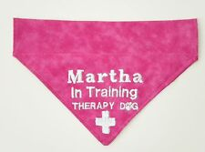 Therapy Dog In Training Personalized Embroidered Slide On Dog Bandana with Cross