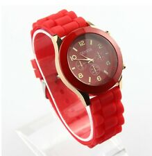 NEW Unisex Geneva Silicone Jelly Gel Quartz Analog Sports Wrist Watch red AB