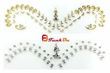 FANCY DESIGNER BRIDAL BINDI - SILVER or GOLD -SELF ADEHESIVE DIAMNTE  BEAD CRAFT