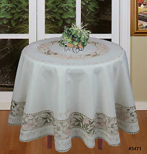 Embroidered Pink Floral Green Leaf Cutwork ROUND Tablecloth & Napkins Ivory 3471