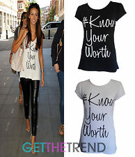 Womens #Know Your Worth Celeb Inspired Statement  Cap Sleeve Top  Tshirt  8 - 14