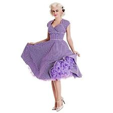 HELL BUNNY LAZY RIVER PINUP DRESS 1940 1950 RETRO VINTAGE PURPLE GINGHAM CIRCLE