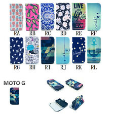 For Motorola Moto G ID Wallet Flip PU Leather Cover Case Folio fruit flower