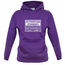 Attention Zombies Video Games - Kids / Childrens Hoodie - Gaming - Zombie