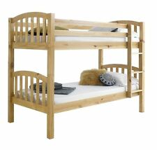 Happy Beds American Solid Pine Wooden Bunk Bed 3ft Single 2x Mattress Furniture