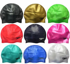 Speedo Adult Moulded Silicone Swimming Cap - Black Royal White Pink Red--