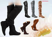 Cute Pull Up Round Toe Comfort Flat Slouchy Thigh High Boot Shoes Size 6 -11 NEW