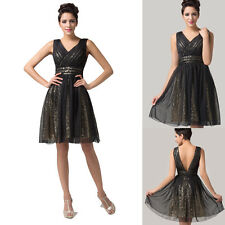 NEW Bling Sequins Formal Prom Party Dresses Evening Ballgown Bridesmaid Dress 6+