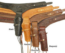 22 Caliber .22 Western Gun Belt Single Right Hand Holster Cowboy Tooled Leather