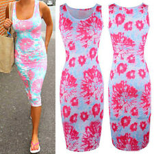 Womens Ladies Sleeveless Floral Print Bodycon Long Midi Maxi Dress Sundress