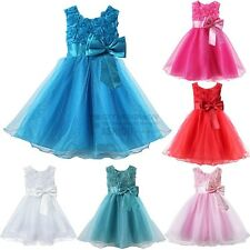 Girls Kids Princess 3D Rose Flower Tutu Layered Skirt Bow Party Wedding Dress
