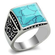 New Stainless Steel Men's Square Reconstituted Turquoise Blue Ring - Sizes 8-13