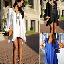 New Women's Casual Chiffon Dress Summer Beach Mini Dress Sexy V-neck Long Sleeve