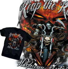 Skull & Flames Biker T-Shirt US Route 66 BMW Harley Chopper Rocker Gr.S-XL