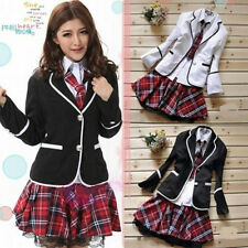 Japan School Girl Uniform Cosplay Costume, jacket, blouse, skirt and tie