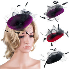 Womens Occasion Feather Crin Fascinator Wool Felt Race Cocktail Church Hat A216