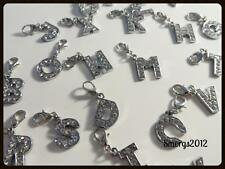 Initial Charm letter A-Z Silver Plated Clip On Lobster clasp Rhinestone crystal