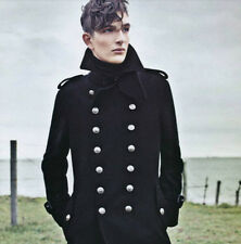 Mens Double-Breasted Trench Wool Military Overcoat Jacket Outerwear Coat Black