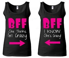 COUPLE WOMEN'S TANK TOP - BFF Best Friend Forever - she's crazy funny couple tee