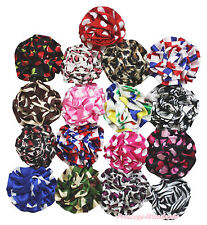 Wholesale Lot 17 Animal Pattern Color Flower Rosettes Girl Hair Clip Accessory