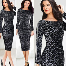 CLEARANCE Leopard Celebrity Bodycon Formal Cocktail Evening Party Pencil Dresses