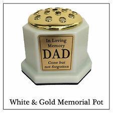 White & Gold Memorial Vase - Graveside Cemetery Flower Pot with Gold Plaque NEW