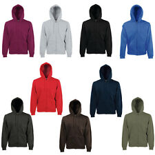 New Fruit Of The Loom Mens Casual Long Sleeved Zip Up Hoodie Jacket Size S - XXL
