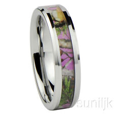 Women's Camo Hunting Camouflage Wedding Band Pink/Rose/Green 6mm Tungsten Carbid