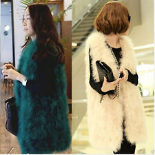 100% Luxury Real Ostrich Feather Fur Vest Waistcoat Women Soft Fur Jackets Coat