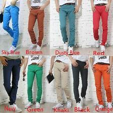 Mens Solid Slim Fit Casual Denim Pants Skinny Stretch Pencil Jeans Trousers