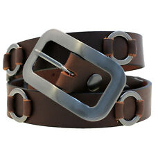 """1 1/8"""" Ladies' Fashion Belt Metal Ring Accents Brown West Tan Buffalo Leather"""