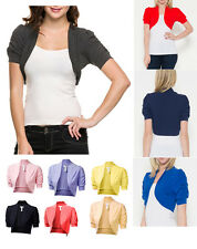 NEW Cinched Short Sleeve Cotton Bolero Shrug Solid Cropped Top Open Front Blouse