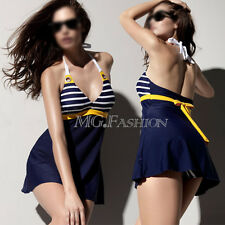 Blue Navy Padded Swimsuit Swimdress Tankini With Attached Bottom Bathing Suit
