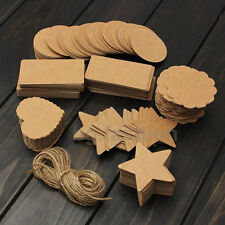 Blank Brown Kraft Paper Hang Tags Wedding Party Favor Label Price Gift Cards 100
