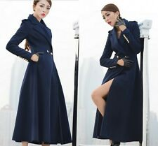 Womens Slim Trench Coat Long Wool Blend Double-breasted Full Length Coat Jacket