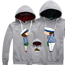 Unisex Cute Kiss Navy Cotton Hoodie Pullover Hooded Sweater Couples Family Coat