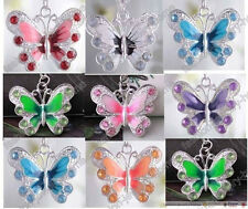 20/50pcs Silver Plated Enamel Rhinestone Crystal Butterfly Charms ,8 Colors