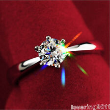 Solitaire Claw Set White Sapphire Gemstones Lady 925 Silver Wedding Ring Sz 4-9