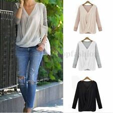 Sexy Womens Long Sleeve Blouse Chiffon Patchwork V Neck Wrap Front T Shirt Tops