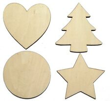 Solid Wooden Craft Shapes Wood Tags Heart, Star, Circle, Christmas Tree NO Holes