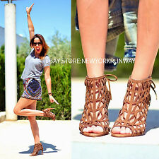 ZARA NEW Brown Lace Open Work High Heels Leather Sandals