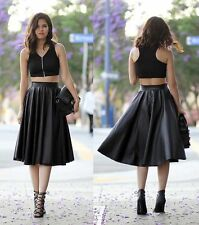 New faux leather Black high waisted skirt A-line midi Knee Length flare full