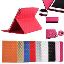 New Flip PU Leather Rhombus Quilted Case Skin Cover Stand for Apple iPad mini
