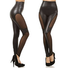 New ! Faux Leather High Waist Mesh Fashion Women Leggings Pull On S M L