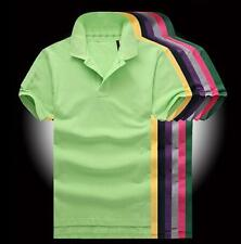Hot Classic Men's Polo Shirt Solid Color T-shirt Casual Sports Short Sleeve Tops
