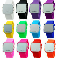 SH US Mens Womens Led Wrist Watch Hot Mirror Date Red LED Digital Sport Silicone