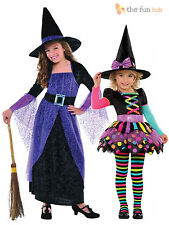 Girls Halloween Witch Fancy Dress Costume Kids Childrens Party Outfit + Hat
